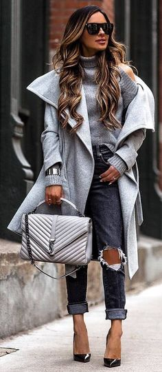 #winter #outfits grey sweater, grey ripped jeans, black heels , grey coat