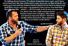 Jensen and Ty convention panel at JIB2013.  Ty quote about Jensen. I love Jensen.