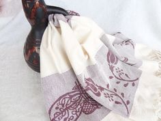 Tradinational Turkish Towel EcruBurgundy by OttomanBazaars on Etsy, $35.00