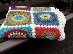 Colorful Handcrocheted Granny Square Blanket by LOMamas on Etsy