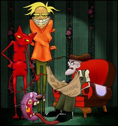 Courage, Katz, Freaky Fred and Eustace Bagge by Etve deviantART............I loved this cartoon and I was a 19yr old unusual lunatic when it came out!!! Hmmm not much has changed...... It's a honor to show this to my nephew and niece