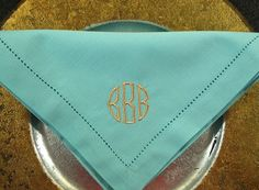Six Monogrammed Napkins in the Circle Font by sincerelyyourslauren, $48.00