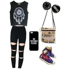 Rock Style by owlnightmare on Polyvore featuring polyvore fashion style Casetify Converse