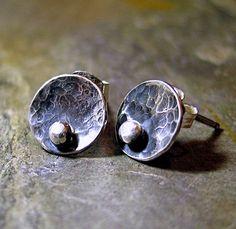Rustic Sterling Silver Stud Earrings -Pebble Road Petite Studs