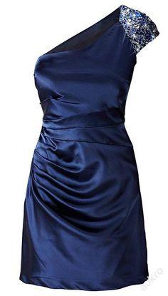 Modré šaty na 1 zdobené ramínko, v. 38/S-M