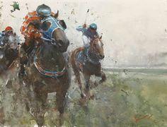 To The Finish Line - Joseph Zbukvic - watercolour and acrylic Watercolor Artwork, Watercolor Artists, Artist Painting, Hippo Drawing, Horse Artwork, Horse Paintings, Joseph Zbukvic, Horse Drawings, Sports Art