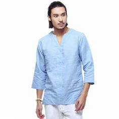 Spring 2018 linen shirt men casual cotton Breathable white soft three quarter shirts man camisa masculina Plus size Mens Linen Outfits, Oversized Fashion, Shirt Refashion, Spring Shirts, Casual Street Style, Mens Clothing Styles, Chinese Style, Casual Shirts, Men Dress