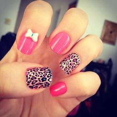 Pink and leopard nails Fabulous Nails, Perfect Nails, Gorgeous Nails, Pretty Nails, Nice Nails, Pretty Toes, Get Nails, How To Do Nails, Hallographic Nails