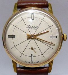 """VINTAGE BEAUTIFUL RARE RUSSIAN WATCH """"RAKETA""""NICE DIAL,SERVICED, MINT # 981 in Jewellery & Watches, Watches, Wristwatches 