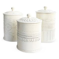 Check out this item at One Kings Lane! S/3 Assorted Gabrielle Canisters, Round