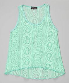 Look what I found on #zulily! Lori & Jane Green Paisley Lace Tank - Girls by Lori & Jane #zulilyfinds