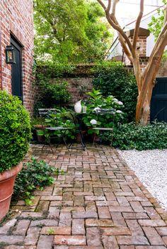 Tour a Formal Charleston Walled Garden Brick Courtyard, Brick Pathway, Brick Yard, Brick Patios, Garden Wall Designs, Garden Design, Backyard Patio, Backyard Landscaping, Brick Wall Gardens