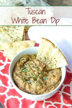 This Tuscan White Bean Dip has creamy cannellini beans blended with rosemary, sun-dried tomatoes and a hint of white balsamic vinegar.