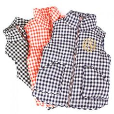 Monogrammed Gingham Quilted Vest   MARLEYLILLY