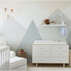 A bit of nursery inspiration today... How amazing do these painted mountains look.... Great idea Pic credit @homepolish #nursery #nurseryinspo #mountains #paintedwalls #wallcoverings #kidsroom #kidsinterior #childrensroom #childrensinteriors #roxyoxycreations