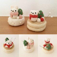 雪だるまとケーキのピンクッション
