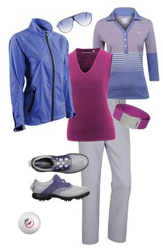 Periwinkle, Plum and Grey on the golf course.