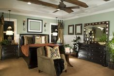 Welcome to our green master bedroom photo gallery showcasing hundreds of green master bedroom ideas of all types. Filter by style, size and many features. Green Master Bedroom, Master Bedroom Design, Large Bedroom, Modern Bedroom, Master Bedrooms, Modern Bedding, Bedroom Designs, Small Bedrooms, Cozy Bedroom
