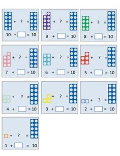 Number Bonds to 10 and 20 (Numicon) 1st Grade Math, Kindergarten Math, Teaching Math, Math Worksheets, Teaching Resources, Numicon Activities, Mastery Maths, Number Bonds To 10, Maths Eyfs
