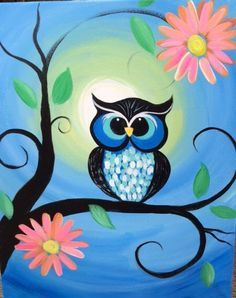Learn Drawing Whimsical Owl Painting by eracindym on Etsy - This canvas painting depicts a brightly colored owl sitting on a tree branch with pink Canvas Painting Projects, Easy Canvas Painting, Diy Canvas, Diy Painting, Painting & Drawing, Art Projects, Painting Flowers, Painting Abstract, Canvas Ideas Kids