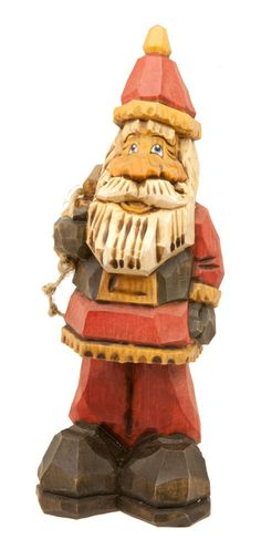 Hand Carved Wooden Santa in Traditional Red Coat and Hat, Black Belt Holding a Sack, available from Rustic Road Studio on etsy