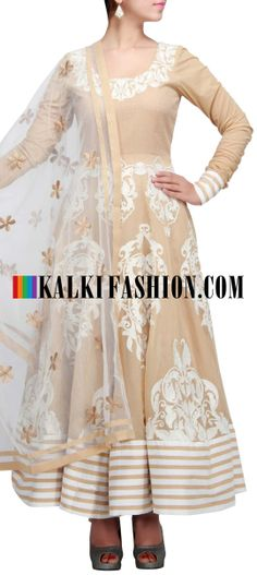 Buy Online from the link below. We ship worldwide (Free Shipping over US$100) http://www.kalkifashion.com/beige-anarkali-suit-featuring-with-thread-embroidery-by-seema-oberoi-only-on-kalki.html Beige anarkali suit featuring with thread embroidery by Seema Oberoi only on Kalki