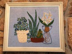 Vintage Mod Crewel Embroidery Finished Framed Art Succulent Aloe Plants Floral
