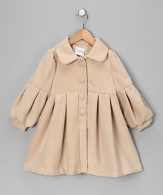 Take a look at this Beige Pleated Coat - Infant, Toddler & Girls on zulily today!