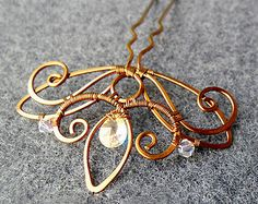 buy 3 get Free Shipping - BRIDE- BRIDESMAID BROOCHES  - copper jewelry - wire jewelry