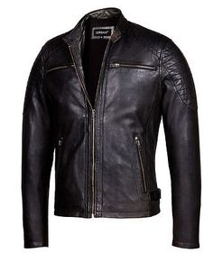 Vintage Black Cafe Racer Leather Jacket – Mens Genuine Leather Jackets in Clothing, Shoes & Accessories, Men's Clothing, Coats & Jackets | eBay