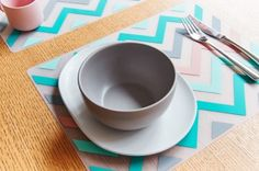 Sorbet Chevron Silicone Placemat Placemat, Sorbet, Chevron, Tableware, Accessories, Dinnerware, Dishes, Porcelain Ceramics, Ornament