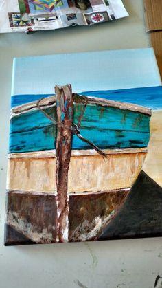 10 x 12 Boat.  Acrylic on Canvas