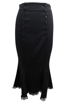 Vitage Pinup 50's High Waist Double Buttoned Front with Lace Trim Wiggle Pencil Skirt (EU40/US6)