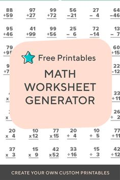 Need to create a timed test or just want to print out some extra practice for your child or class? Create endless addition, subtraction, multiplication, division, and fact family worksheets with these math worksheet generators. Multiplication Facts, Math Facts, Special Education Classroom, Math Classroom, Math Worksheets, Math Activities, Teaching Tools, Teaching Kids, Fact Family Worksheet