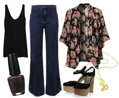 Casual work style: The Row Roger Modal Tank, J Brand Bette Flared Jeans, Topshop Floral Kimono, Laurence Dacade Tigo Platforms, Cursive Initial Pendant, OPI nail polish in You Don't Know Jacques