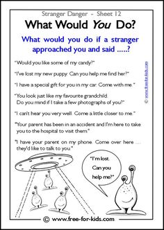 Responsibility Activity Sheets   More Stranger Danger Worksheets and Colouring Pages: