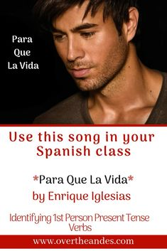 This song utilises the present tense as Enrique sings about how he feels and what he is going through as he misses his love. Listen to the song and pick out as many first person present tense verbs as you can. Spanish Notes, Spanish Music, How To Speak Spanish, Learn Spanish, Learn French, Spanish 1, Spanish Teaching Resources, Spanish Activities, Vocabulary Activities