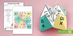 This brilliant activity / activities provides instructions on how to make your own 10 times table themed fortune teller! Fantastic for your maths lessons! 10 Times Table, Times Tables Games, Math Resources, Math Activities, Maths Fun, Number Bonds To 20, Morning Activities, Fortune Teller, Math Facts