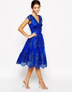Chi Chi London Wrap Front Full Midi Prom Dress In Premium Metallic Lace