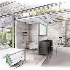 Bathroom loft for Wedi #arch_daily #architecture #architecturelovers #architektur #archisketcher #archilovers #archidesign #axor by #Hansgrohe #bathroom #bathdesign #bette #copicmarkers #copic #duravit #interiordesign #interior #loftstyle #loft #luxurybathroom #luxury #sketchzone #sketch