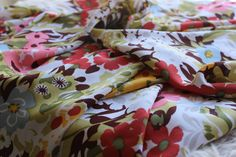 Bright Floral Rayon Fabric by the Yard Rayon by StevieSaintFabrics