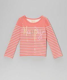 Love this Neon Sugar Coral Stripe Sequin 'Happy' Tee - Girls on #zulily! #zulilyfinds