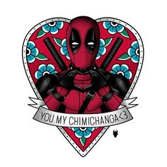 Deadpool In Heart Frame With Banner Tattoo Design