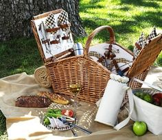 English Picnic Basket with everything you need for the perfect picnic