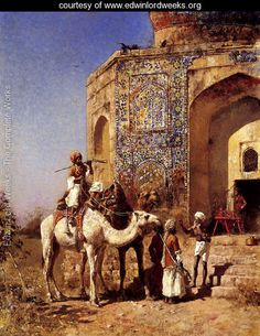 Old Blue Tiled Mosque  Outside Of Delhi  India - Edwin Lord Weeks - www.edwinlordweeks.org
