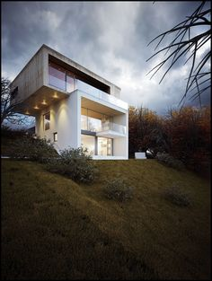 House on the hill by Vlad Sebastian Rusu Architecture Office - Cluj-Napoca, Romania Houses Architecture, Architecture Office, Contemporary Architecture, Architecture Design, Contemporary Design, House On A Hill, House Front, Exterior Rendering, Ocean House