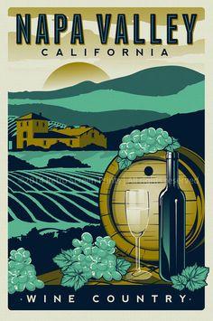 Napa Valley California Vineyards Retro Vintage Travel Poster