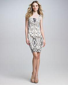 T4WYQ Just Cavalli Square-Neck Sheath Dress