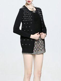 #StyleWe Shop MUKAS Cardigans - Black Long Sleeve Angora-blend Geometric Cardigan online. Discover unique designers fashion at AdoreWe.net.