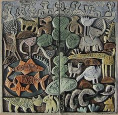 Zoo - ceramic relief by Hilke MacIntyre